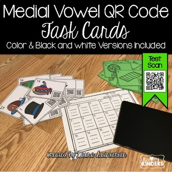 QR Code Medial Vowel Sound Activity Task Cards