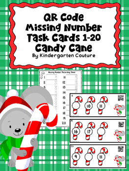 QR Code Missing Numbers 1-20 Candy Cane