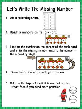QR Code Missing Numbers 1-20 Gingerbread Man