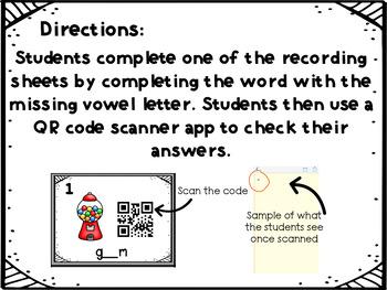 QR Code Missing Vowel Task Cards
