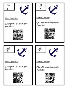 QR Code Mixed Numbers to Improper Fractions Scavenger Hunt