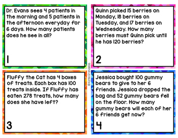 Multi-Step Word Problem Task Cards with & without QR Codes | All 4 Operations