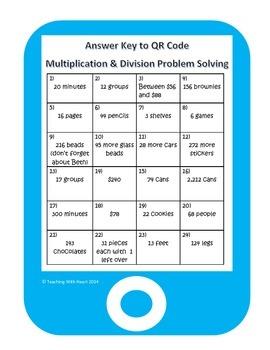 QR Code Multiplication & Division Word Problem Task Cards