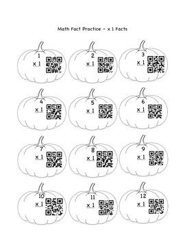 QR Code Multiplication Fact Skill Sheets/Flash Cards - Pumpkin Themed