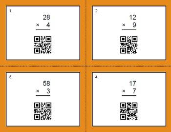 QR Code Multiplication Task Cards Bundle