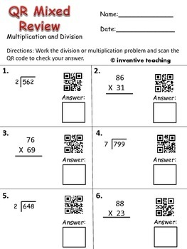 qr code multiplication and division worksheet freebie by inventive teaching. Black Bedroom Furniture Sets. Home Design Ideas