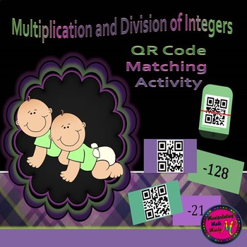 QR Code Multiplication and Division of Integers Matching review activity