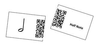 QR Code Music Match - Note Names, Rhythm and Glues