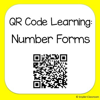 QR Code Expanded Form and Word Form Worksheets