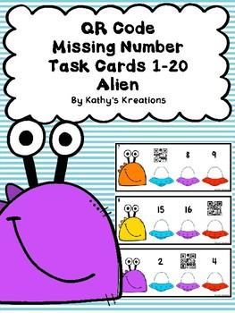 QR Code (Optional) Missing Number Task Cards 0-20 Aliens