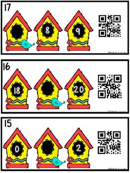 QR Code (Optional) Missing Number Task Cards 0-20 Birdhouse