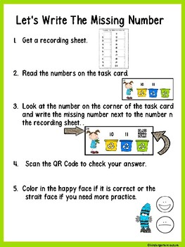 QR Code (Optional) Missing Number Task Cards 0-20 Earth Day