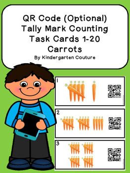 QR Code (Optional)  Tally Mark Task Cards 1-20 Carrots