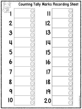 QR Code (Optional) Tally Mark Task Cards 1-20 Christmas Reindeer
