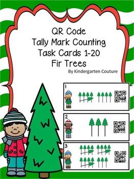 QR Code (Optional) Tally Mark Task Cards 1-20 Fir Trees