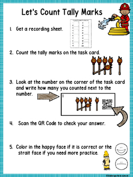 QR Code (Optional) Tally Mark Task Cards 1-20 Fire Safety