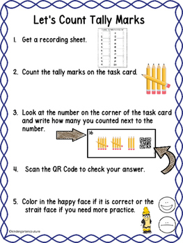 QR Code (Optional) Tally Mark Task Cards 1-20 Pencils