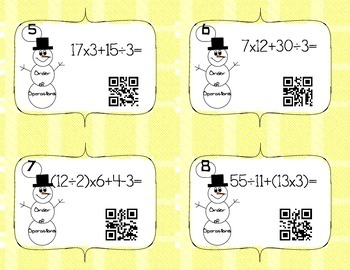 QR Code Order of Operations Task Cards
