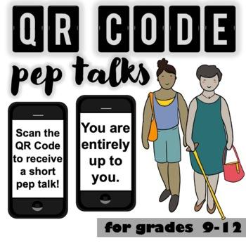 QR Code Pep-Talks: CBT, empowering, mental health, motivational, inspiring
