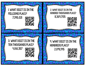 QR Code Place Value, Comparing and Rounding Task Cards (SOL 4.1 & CCSS 3.NBT.A)