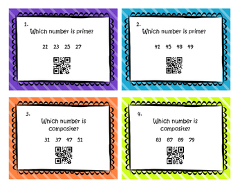 QR Code Prime, Composite, Multiples, Factors Task Cards 4.OA.4 Fourth Grade