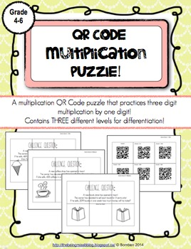 QR Code Puzzle: Multiplication Three Digits by One Digit Practice!
