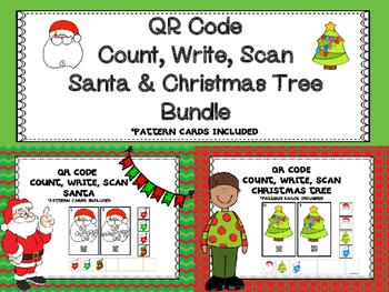 QR Code Count, Write, Scan Santa And Christmas Tree Bundle