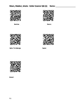 QR Code Quest:  Roller Coaster themed Mean, Median, and Mode