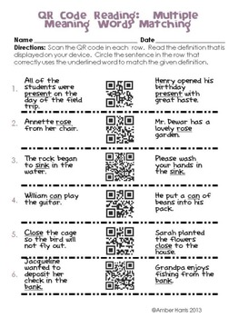 QR Code Reading Multiple Meaning Words
