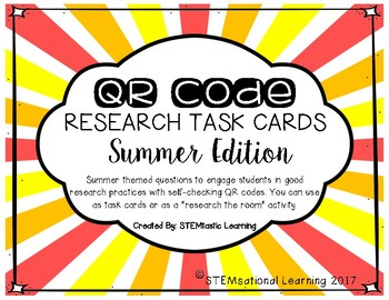 QR Code Research the Room Task Cards Summer Edition