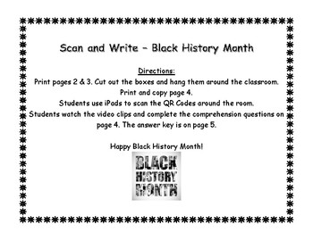 QR Code Scan, Listen, and Write Black History Month