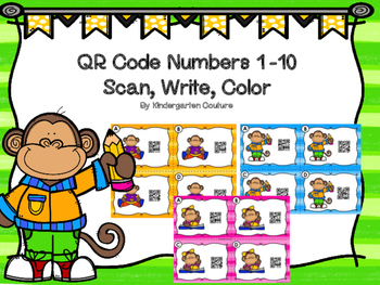 QR Code Scan, Write, Color Numbers 1-10 Monkey Theme