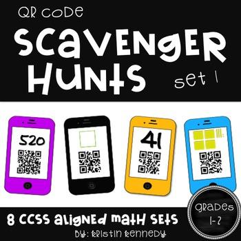 QR Code Scavenger Hunt BUNDLE {16 CC Aligned Math Sets for Grades 1 & 2}
