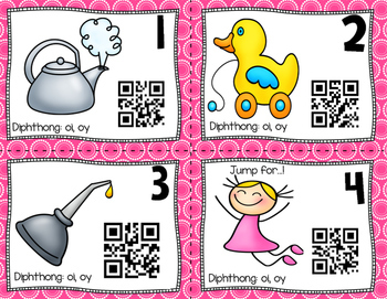QR Code Task Cards: Diphthong oi & oy
