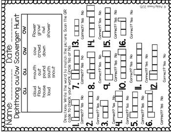 QR Code Task Cards: Diphthong ou & ow