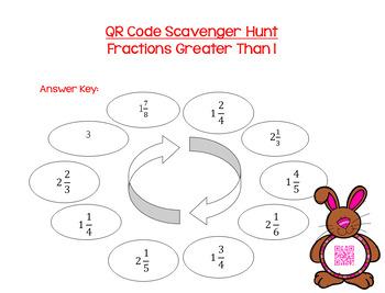 QR Code Scavenger Hunt: Fractions Greater Than 1