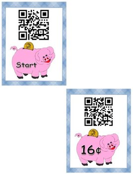 QR Code Scavenger Hunt- How Much is That Pig Worth Matching Coins to Their Value
