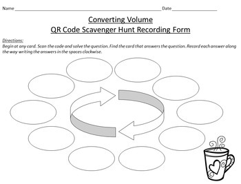 QR Code Scavenger Hunt: Converting Metric Units of Volume