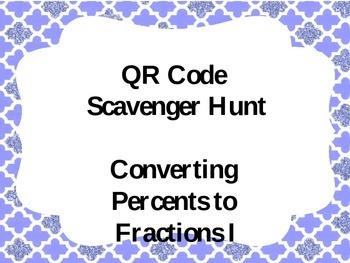 QR Code Scavenger Hunt Percents to Fractions