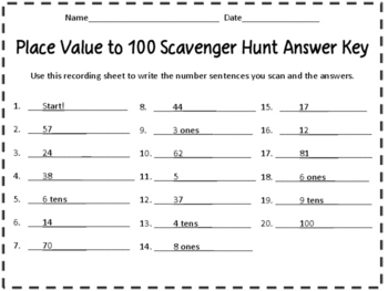 QR Code Scavenger Hunt - Place Value to 100