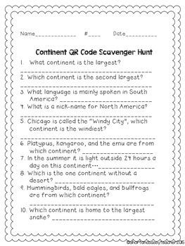 QR Code Scavenger Hunt: Seven Continents