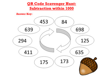 QR Code Scavenger Hunt: Subtraction within 1000