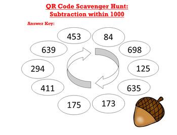 QR Code Scavenger Hunt: Subtraction within 1000