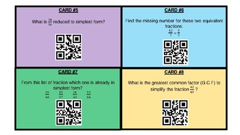 QR Code Scavenger Hunt on Simplifying Fractions