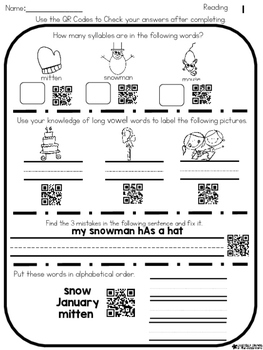 QR Code Self Check First Grade Reading