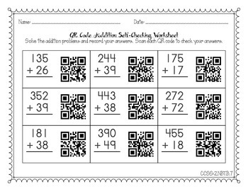 QR Code Self-Checking Addition Problems for 2nd Grade