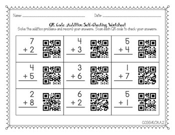 QR Code Self-Checking Addition Problems for Kindergarten