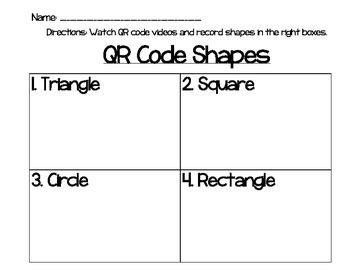 QR Code Shape Videos w/ recording sheet