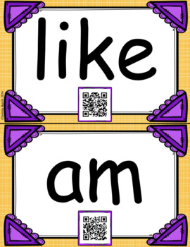 QR Code Sight Word Flash Cards