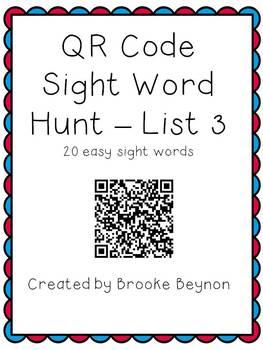 QR Code Sight Word Hunt - List 3